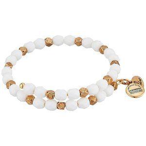 NWT Alex and Ani Pebble Wrap White Bead Bracelet